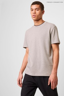 French Connection Grey Popcorn Jersey Double Collar T-Shirt