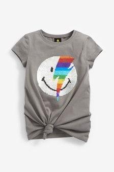 T-Shirt mit Pailletten-Smiley (3-16yrs)