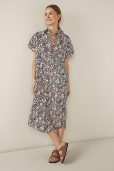 שמלת חולצה בגזרה רפויה עם שרוולים קצרים