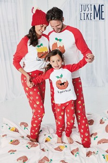 Matching Family kinderpyjama met puddingprint  (3-16 jr)