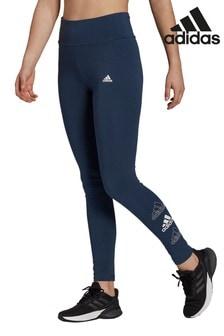 adidas 3 Stack legging met hoge taille in marineblauw