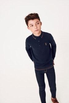 Вязаная рубашка поло с длинным рукавом (3-16 лет)