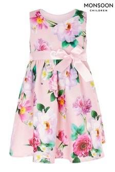 Monsoon粉色嬰兒裝花朵潛水布連衣裙