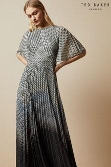 Ted Baker Black Trishna Pleat Detail Maxi Dress