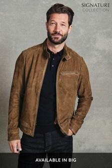 Jachetă Signature din piele întoarsă model motociclist