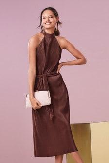 Pleated Halter Neck Dress
