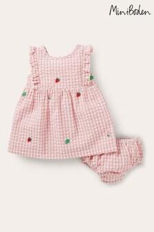 Boden粉色梭織格子棉布水果連衣裙