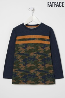 FatFace Blue Camo Stripe T-Shirt