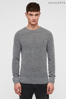 All Saints Grey Ivar Textured Jumper