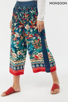 Monsoon Ladies Orange Martina Printed Crop Trouser