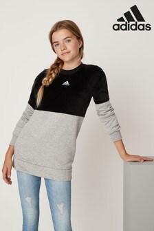 Szaro-czarny aksamitny wydłużany sweter z okrągłym dekoltem adidas ID