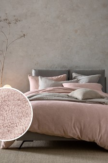 Blush Pink Teddy Fleece Duvet Cover and Pillowcase Set