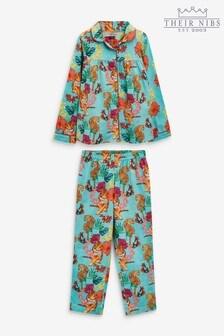 Their Nibs Tropical Tiger Girls Traditional Pyjama Set In Aqua