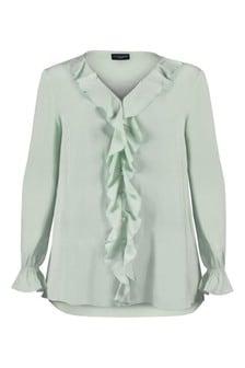 חולצת מלמלה מאריג מקומט של Live Unlimited למידות גדולות בצבע ירוק-אפור