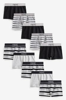 10包裝組條紋四角褲 (2-16歲)
