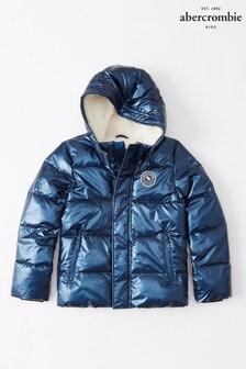 Abercrombie & Fitch - Cappotto imbottito blu lucido