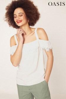 Oasis White Lace Trim Bardot Cami