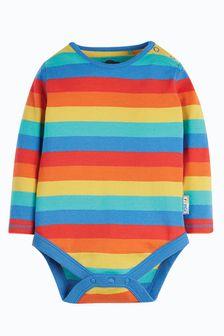 Frugi Organic Cotton Rainbow Stripe Long Sleeve Bodysuit