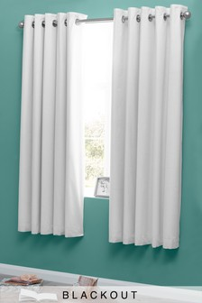 Micro-Fresh Plain Dye Eyelet Lined Blackout Curtains