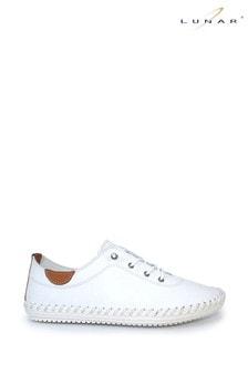 Lunar White Leather Plimsolls