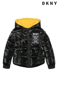 DKNY Black Shiny Reversible Logo Jacket