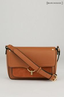 Warehouse Tan Mixed Material Cross Body Bag