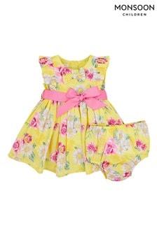 סט שמלה פרחוני של Monsoon ניו בורן תינוקות בצהוב