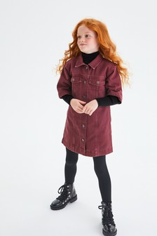 فستان قميص دنيم مريح (3-16 سنة)