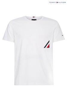 Tommy Hilfiger White Stripe Pocket T-Shirt