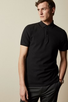 Ted Baker Black Infuse Textured Cotton Polo