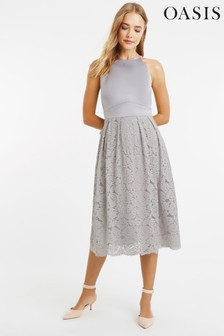 Oasis Grey Satin Bodice Lace Midi Dress