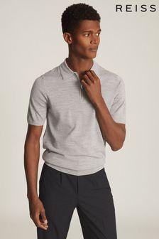 Reiss Grey Maxwell Merino Wool Zip Neck Polo