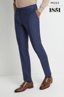 Moss 1851 Tailored Fit Blue Houndstooth Trousers