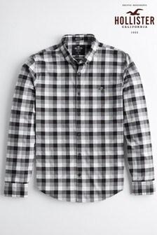 Chemise à carreaux Hollister noire