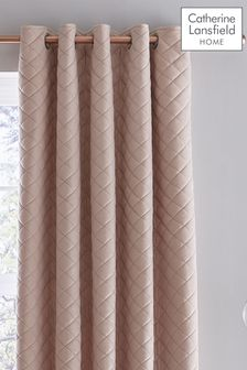 Catherine Lansfield Blush Velvet Curtains