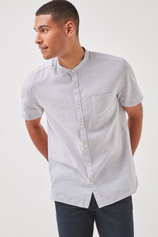 Linen Blend Puppytooth Grandad Collar Short Sleeve Shirt