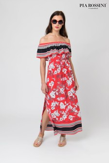 Pia Rossini Red Floral Maxi Dress With Contrast Stripe Detail