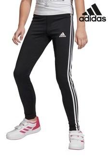 Черные леггинсы с 3 полосками adidas