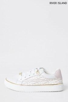 River Island White Og Nylon Logo Lace-Up Shoes