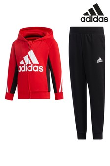 adidas Little Kids Red Tracksuit