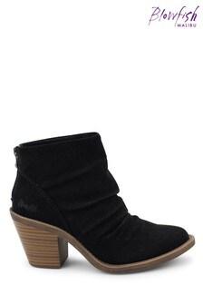 Blowfish Black Soft Nubuck Lagol Vegan Heeled Ankle Boots