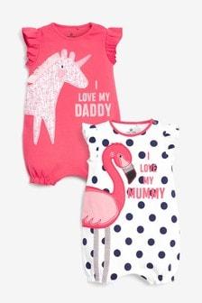 Набор коротких комбинезонов с принтом фламинго и надписью про маму и папу (2 шт.) (0 мес. - 3 лет)