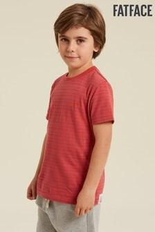 Červené tričko FatFace s jemnými pásikmi