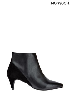 Monsoon Black Leather And Suede Ankle Boots