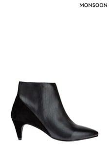Monsoon Stiefeletten aus Leder und Veloursleder, Schwarz