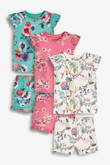 Floral 3 Pack Floral Ruffle Cotton Short Pyjamas (9mths-16yrs)