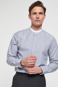 Stripe Grandad Collar Shirt
