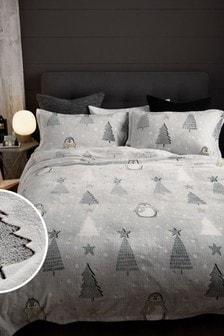 Черно-белый светящийся в темноте флисовый постельный комплект с пингвинами