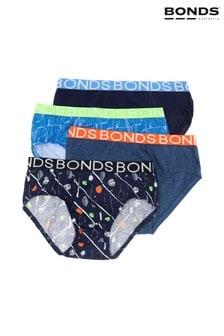 Cztery pary niebieskich slipów chłopięcych Bonds