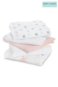 מארז 5 ריבועי מוסלין של aden + anais דגם Essentials Swaddle בוורוד